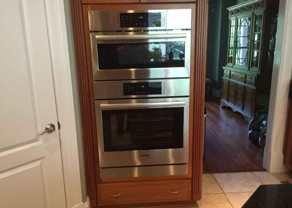 Replacing double wall oven with a single oven and a for Wall oven microwave combo cabinet